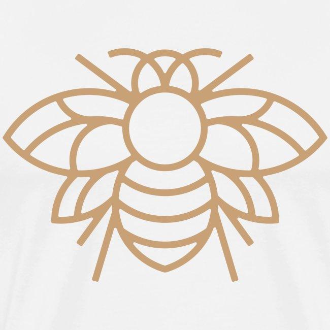 Golden Bee on White Tee