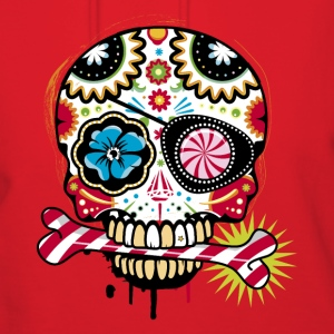 Skull with eye patch and candy cane Hoodies - Women's Hoodie