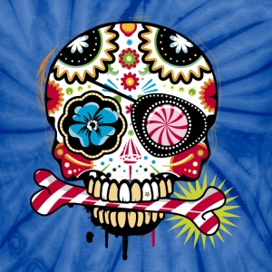 Skull with eye patch and candy cane T-Shirts - Unisex Tie Dye T-Shirt