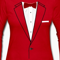 Tuxedo Red Bowtie Long Sleeve Shirts