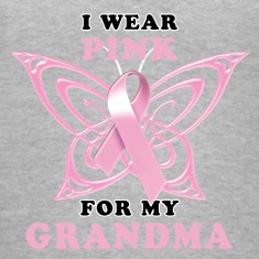 I Wear Pink for my Grandma (Butterfly) Women's T-Shirts