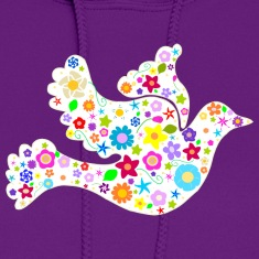 White Dove of Flowers and Peace Hoodies