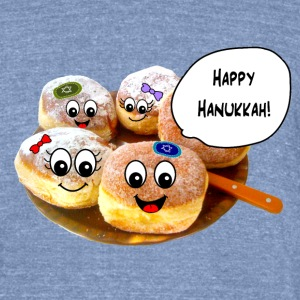 Happy Hannukah cute donuts T-Shirts - Unisex Tri-Blend T-Shirt by American Apparel