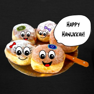 Happy Hannukah cute donuts Women's T-Shirts - Women's V-Neck T-Shirt