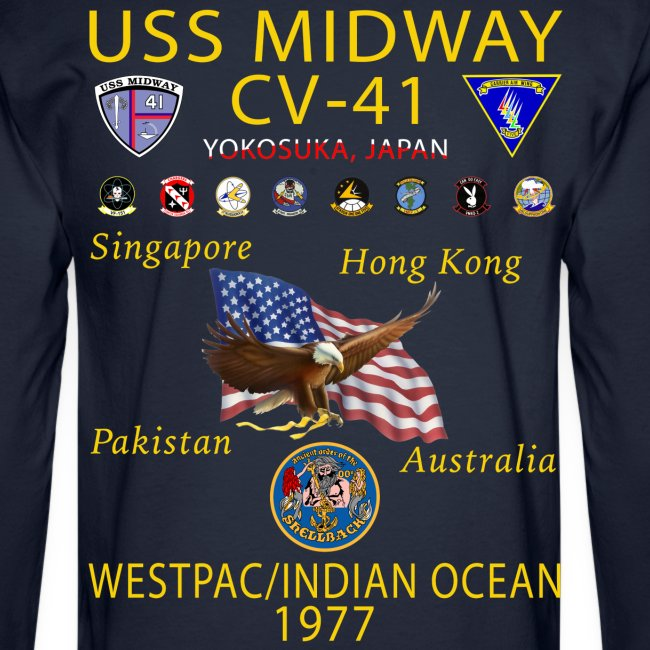 USS MIDWAY CV-41 1977 WESTPAC/IO CRUISE SHIRT - LONG SLEEVE