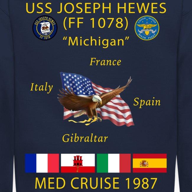 USS JOSEPH HEWES FF-1078 1987 CRUISE SWEATSHIRT