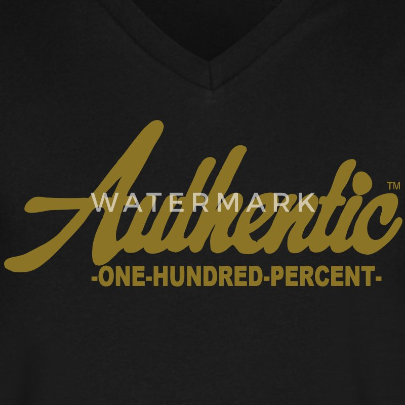 Authentic One Hundred Percent T-Shirts - Men's V-Neck T-Shirt by Canvas
