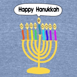 Happy Hanukkah cute cartoon smiley menorah T-Shirts - Unisex Tri-Blend T-Shirt by American Apparel