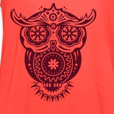 Owl in the style of Sugar Skulls Tanks