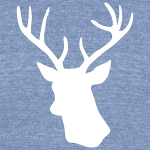 White Stag Deer Head T-Shirts - Unisex Tri-Blend T-Shirt by American Apparel