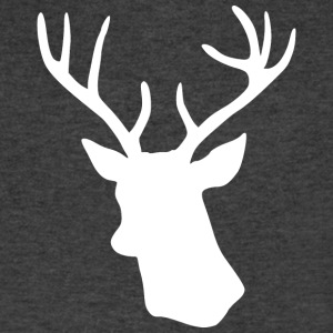 White Stag Deer Head T-Shirts - Men's V-Neck T-Shirt by Canvas