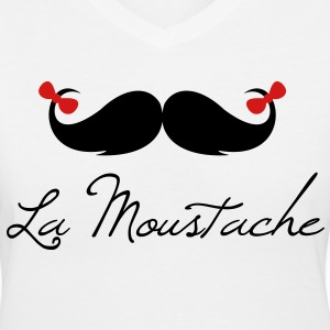la_moustache_bow - Women's V-Neck T-Shirt
