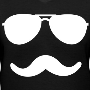 aviator_moustache - Women's V-Neck T-Shirt