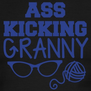 ass kicking granny with knitting ball of wool T-Shirts - Men's Ringer T-Shirt
