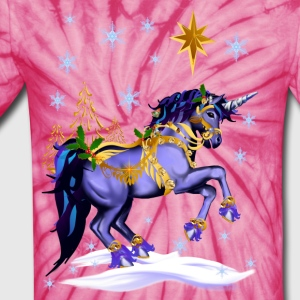 Bright Christmas Unicorn - Unisex Tie Dye T-Shirt