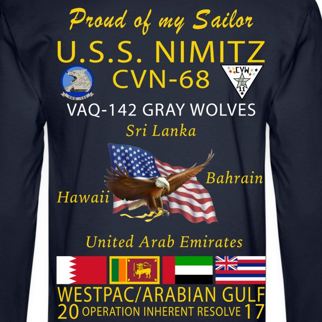 USS NIMITZ w/ VAQ-142 2017 LONG SLEEVE CRUISE SHIRT - FAMILY