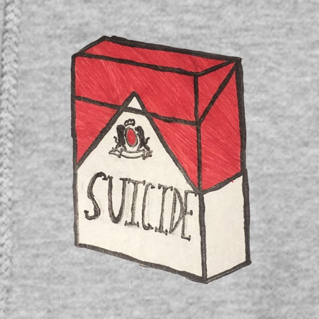 "Womens ""Suicide Cigarette Box Logo"" Hoodie (Grey)"