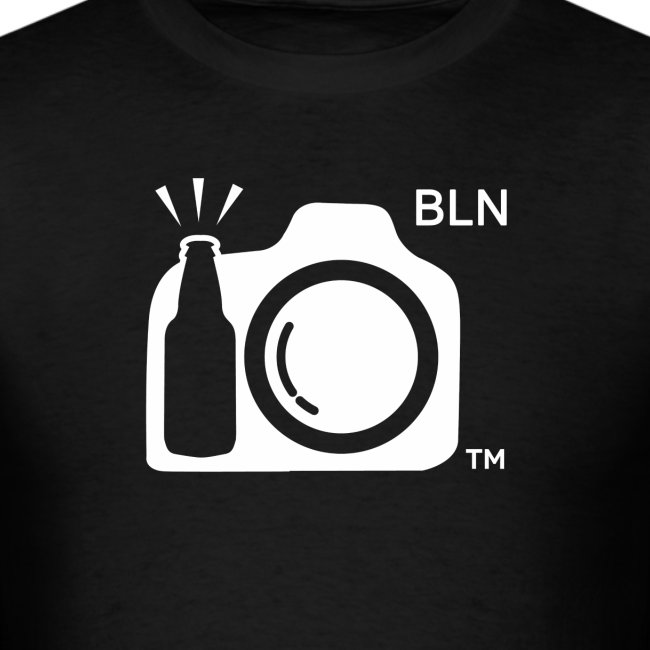 Men's Black T-shirt With White Logo BLN front and Drink and Click on Back