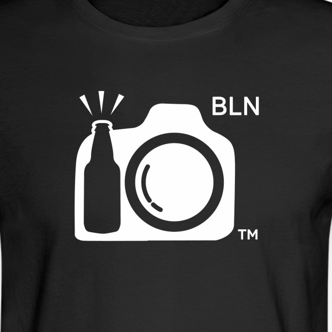 Men's Black long sleeve With White Logo BLN front and Drink and Click on Back