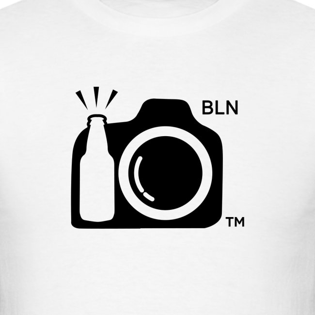 Men's White T-shirt With Black Logo BLN front and Drink and Click on Back