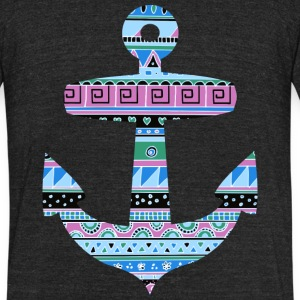 Anchor with Blue Tribal Pattern T-Shirts - Unisex Tri-Blend T-Shirt by American Apparel