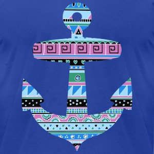 Anchor with Blue Tribal Pattern T-Shirts - Men's T-Shirt by American Apparel