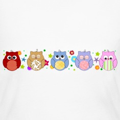 Cute Colorful Owls and flowers Long Sleeve Shirts