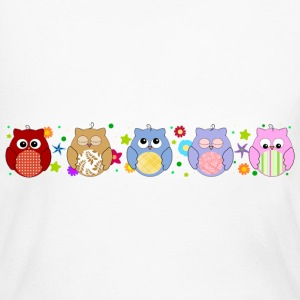 Cute Colorful Owls and flowers Long Sleeve Shirts - Women's Long Sleeve Jersey T-Shirt