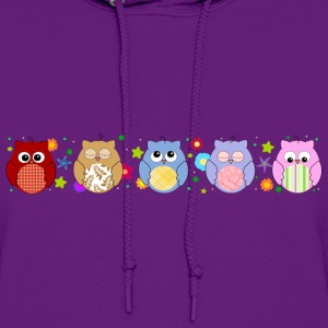 Cute Colorful Owls and flowers Hoodies - Women's Hoodie