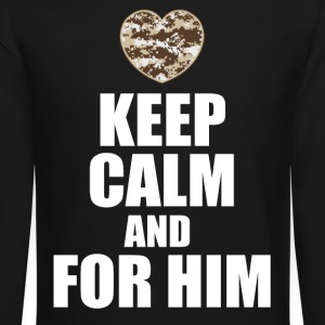 keep calm and wait for him Long Sleeve Shirts - Crewneck Sweatshirt