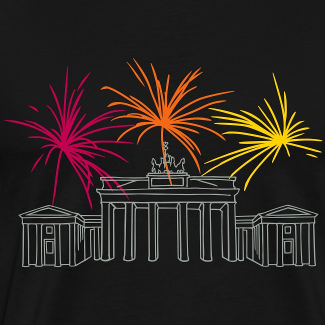 Berlin fireworks New Year's Eve at the Brandenburg Gate.