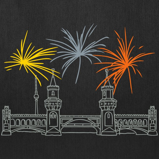 Berlin fireworks New Year's Eve at Oberbaum Bridge