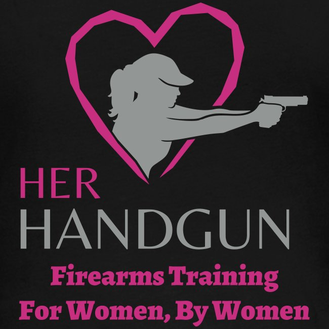 ADD your name to this HerHandgun Two-Tone GRAY Logo with HOT PINK Heart - Long Sleeve Tee
