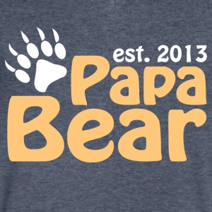 Papa Bear Claw Est 2013 T-Shirts - Men's V-Neck T-Shirt by Canvas