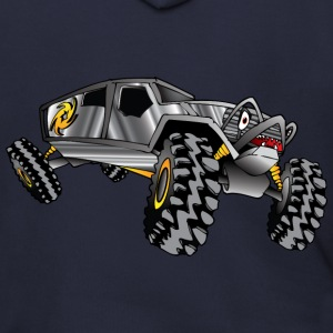 cartoon 4x4 rock crawler race truck, grey - Men's Zip Hoodie