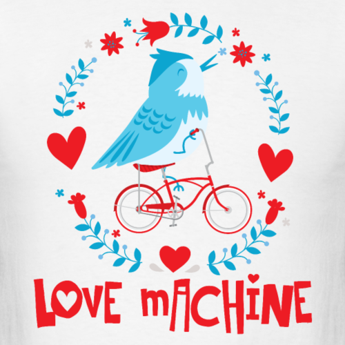 Love Machine Funny Bird on Bicycle