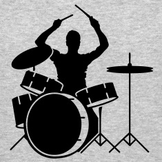 A drummer and drums Long Sleeve Shirts