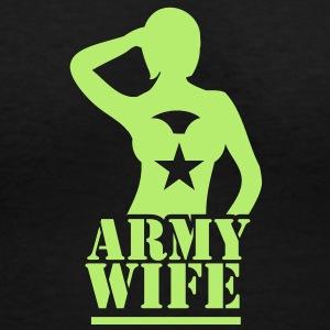 Sexy lady ARMY wife saluting Women's T-Shirts - Women's V-Neck T-Shirt