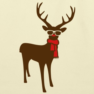 A reindeer with scarf and glasses Bags  - Eco-Friendly Cotton Tote