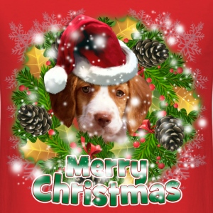 Merry Christmas Brittany Spaniel T-Shirts - Men's T-Shirt