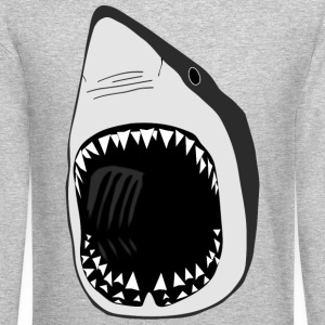 white shark jaws sharks fish fishing scuba diving  Long Sleeve Shirts - Crewneck Sweatshirt