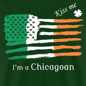 Kiss Me Im a Chicagoan Irish American Flag T-shirt