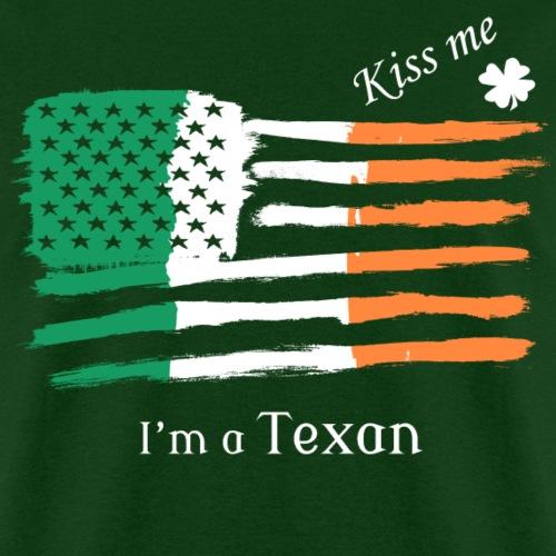 Kiss Me Im a Texan Irish American Flag T-shirt
