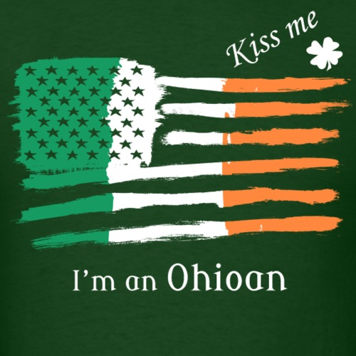 Kiss Me Im an Ohioan Irish American Flag T-shirt