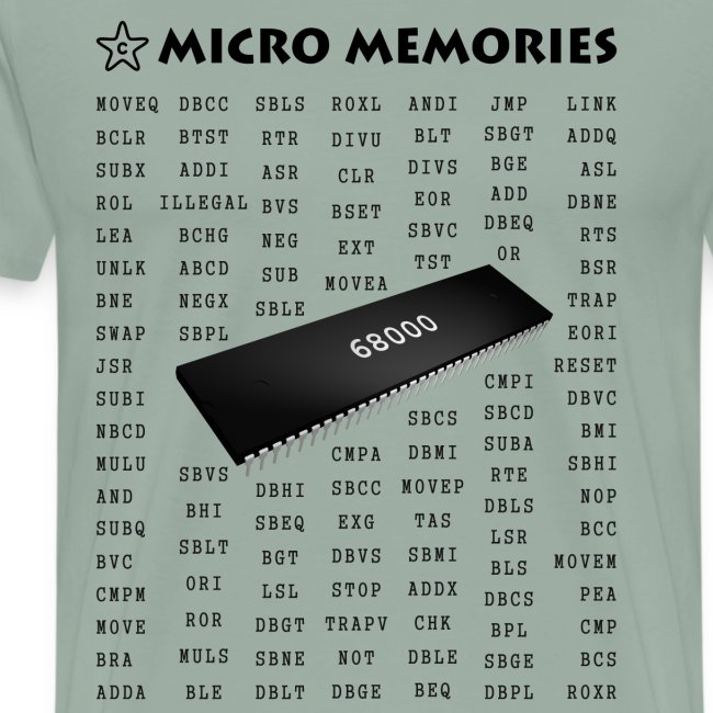 Programmers T-Shirt with 68000 Chip and Mnemonics | Men's Premium T-Shirt