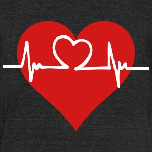Skinny t-shirt with a heart with a beating pulse - Unisex Tri-Blend T-Shirt by American Apparel