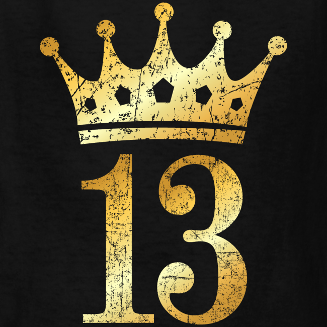 Crown Number 13 Birthday T Shirt Ancient Gold