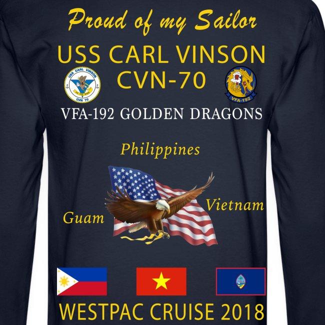 VFA-192 w/ USS CARL VINSON 2018 LONG SLEEVE CRUISE SHIRT - FAMILY