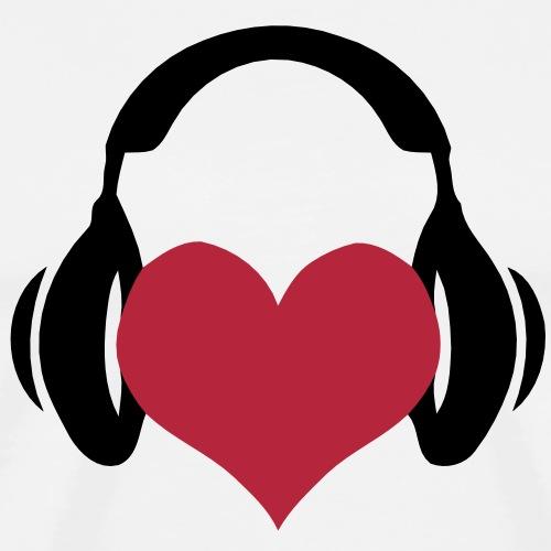 Heart loving listening to music on headphones