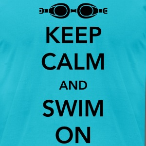 Keep Calm and Swim On T-Shirts - Men's T-Shirt by American Apparel